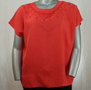 Dana Marco Red Silk Cap Sleeve Embroidered Top, 20